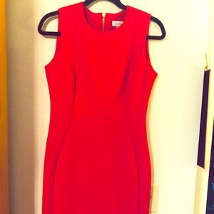 Calvin Klein NWT  Red Scuba Shealth Dress, Size 6